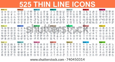 Simple set of vector thin line icons. Contains such Icons as Business, Marketing, Shopping, Banking, E-commerce, SEO, Technology, Medical, Education, Web Development, and more. Linear pictogram pack. Royalty-Free Stock Photo #740450314