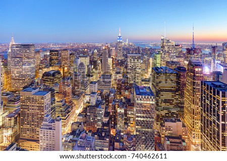 New York City Midtown  at Amazing Sunset #740462611