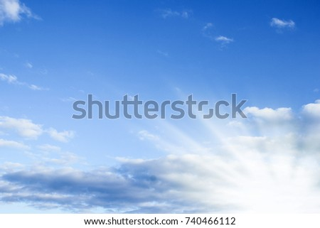 Fantastic soft white clouds against blue sky #740466112