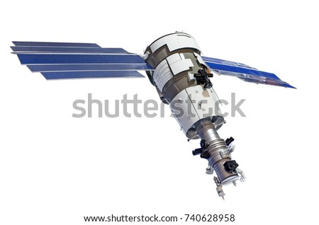 Satellite for earth surface probing isolated on white background Royalty-Free Stock Photo #740628958