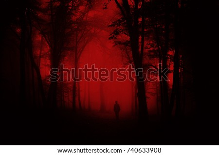 man in scary forest, dark horror landscape, halloween background Royalty-Free Stock Photo #740633908
