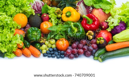 Tropical fresh fruits and vegetables organic after washed, Arrangement different vegetables organic for eating healthy and dieting #740709001