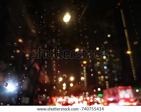 Traffic jam in Bangkok, the capital of Thailand when it's raining #740755414