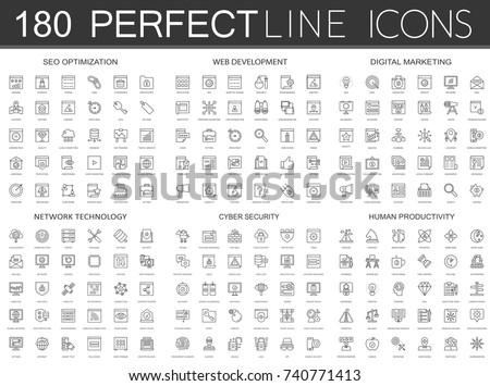 180 modern thin line icons set of seo optimization, web development, digital marketing, network technology, cyber security, human productivity.