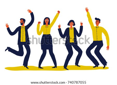 Creative vector illustration of dancing people. Happy teenagers or adults  move to the music. Unusual cartoon  illustration on white background. #740787055