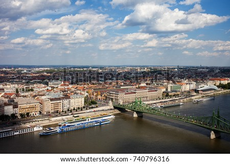 City of Budapest in Hungary aerial view cityscape, Pest Side, Liberty Bridge on Danube River #740796316