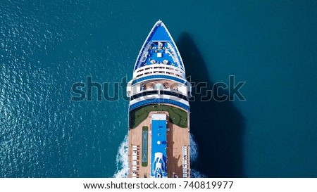 Large Cruise ship sailing across The Mediterranean sea - Aerial image Royalty-Free Stock Photo #740819977