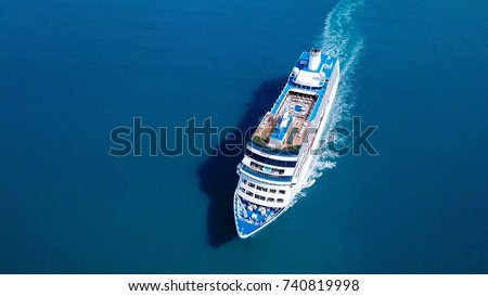 Large Cruise ship sailing across The Mediterranean sea - Aerial image Royalty-Free Stock Photo #740819998