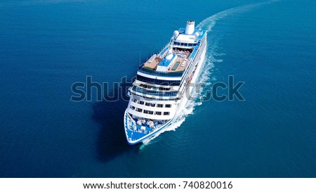 Large Cruise ship sailing across The Mediterranean sea - Aerial image Royalty-Free Stock Photo #740820016