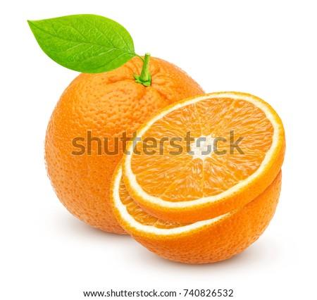 Orange isolated. One whole orange and half isolated on white background #740826532