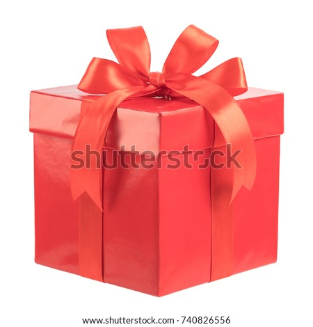 Red gift box isolated on white background. #740826556