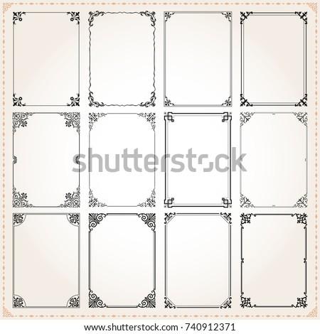 Decorative vintage frames borders backgrounds rectangle proportions set 7 vector #740912371