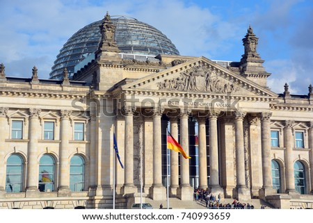 BERLIN GERMANY 09 24 17: The Reichstag officially Deutscher Bundestag  Plenarbereich Reichstagsgebaude is a historic edifice in Berlin constructed to house the Imperial Diet of the German Empire. #740993659