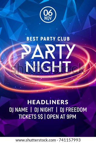 Night dance party music night poster template. Electro style concert disco club party event flyer invitation. Royalty-Free Stock Photo #741157993