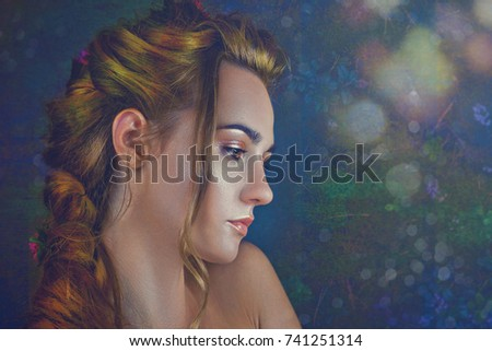 Floral Beauty. Female portrait against beautiful backgrounds #741251314