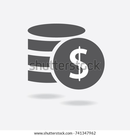 Money. Line Icon Vector. Payment system. Coins and Dollar cent Sign isolated on white background. Flat design style. Business concept. #741347962