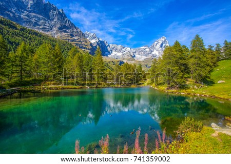View of the Blue lake (Lago Blu) near Breuil-Cervinia and Cervino Mount (Matterhorn) in Val D'Aosta,Italy #741359002
