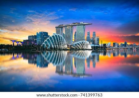 Singapore city skyline at dusk Royalty-Free Stock Photo #741399763