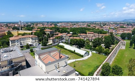 Aerial view of campaign and homes, Italy. #741427894