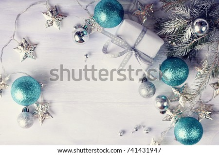 Christmas decoration with gifts on white shiny background