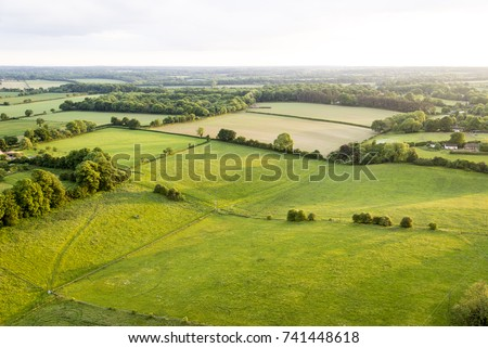 Aerial view of Buckinghamshire Landscape - United Kingdom - Hot air balloon aerial photography Royalty-Free Stock Photo #741448618