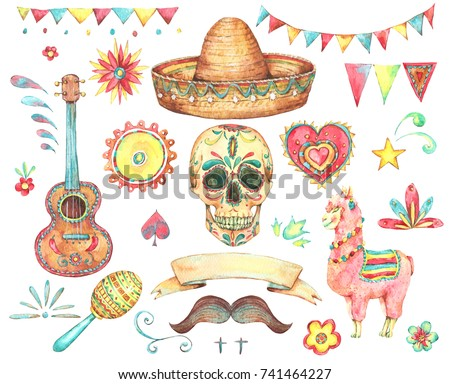 Watercolor set of mexican hand painted design elements, skull, sombrero, llama, sun, flag, Guitar,  mustache, flowers. Day of The Dead collection. Cinco de Mayo objects