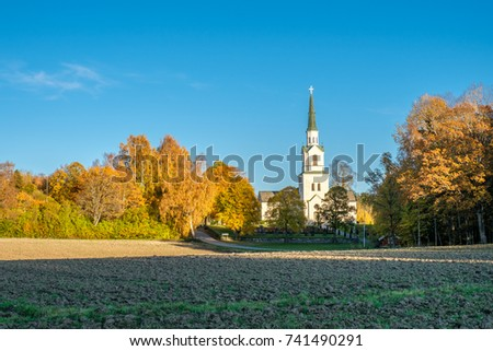Autumn in Sweden - the countryside of Ostergotland on a sunny day in October 2017 #741490291