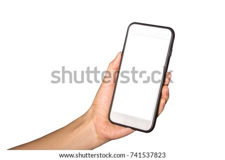 Women's smartphone handles white background #741537823