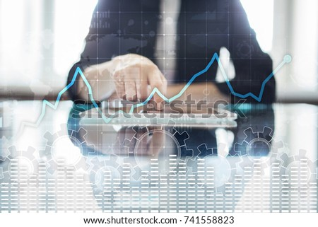 Data analysis graph on virtual screen. Business finance and technology concept. #741558823