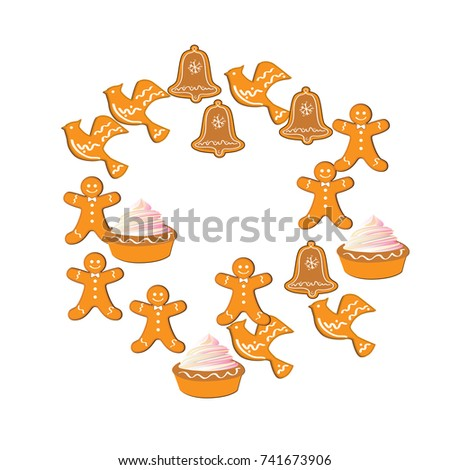 Christmas Gingerbread. Vector illustration. Cute Xmas background for wallpaper, gift paper, pattern fills, textile, greetings cards #741673906