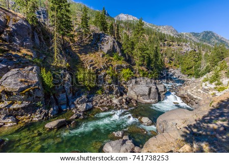 Icicle Creek in Leavenworth Washington in the Cascade Mountains in central Washington State United States #741738253