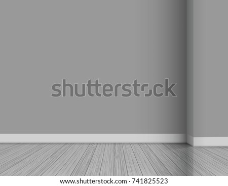 Clean interior template, empty gray wall with corner background. Wooden floor #741825523
