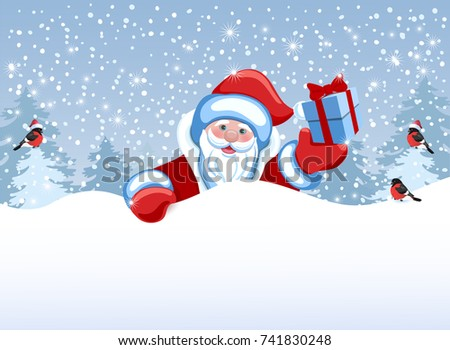 Santa Claus holds poster in the form of a snowdrift for advertise discounts, sales or an invitation to celebrate Christmas. Design of the New Year presentation. #741830248