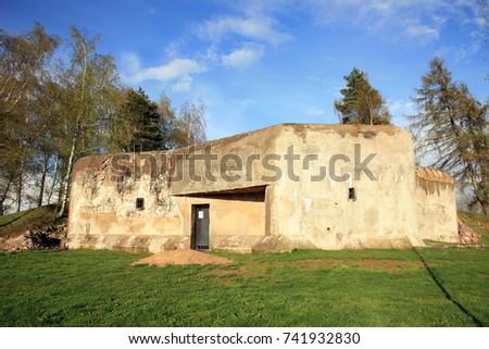 Bunker anti-Infantry from the Second World War in Slavikov, Czech Republic, Czechia #741932830