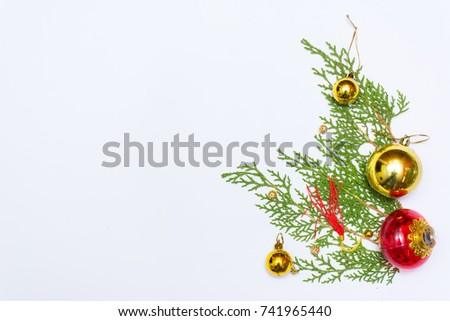 Christmas composition. Christmas gift, pine cones, fir branches on wooden white background. Flat lay, top view #741965440