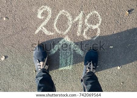Arrow, text 2018, asphalt road female feet new year #742069564