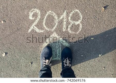 Arrow, text 2018, asphalt road female feet new year #742069576