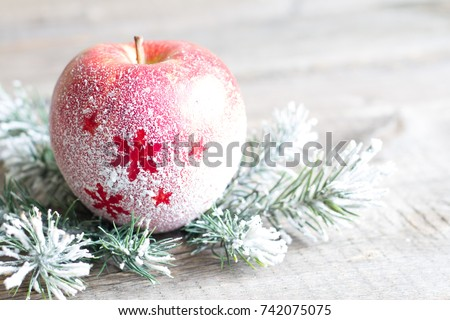 Christmas snowy apple with  tree abstract background concept