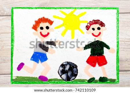 Photo of colorful drawing :Two little boys play football. Soccer game