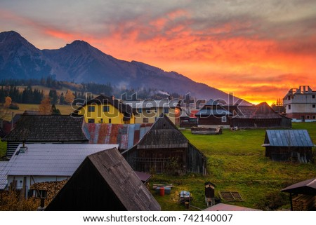 Sunset above Belianske Tatra Mountains which is a part of High Tatras and the small village of Zdiar in Slovakia. #742140007