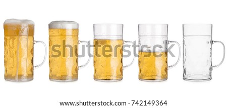 Cutout of five glass mugs with beer sorted from full to empty #742149364