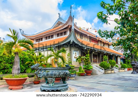 Vinh Nghiem Pagoda in Ho Chi Minh City in the morning #742290934