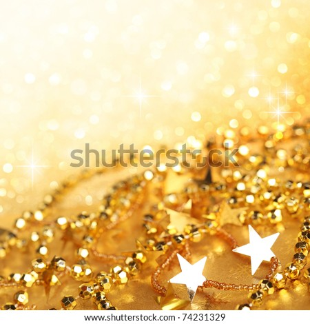 Gold  abstract holiday lights background #74231329