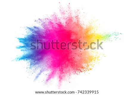 Freeze motion of colored powder explosions isolated on white background Royalty-Free Stock Photo #742339915