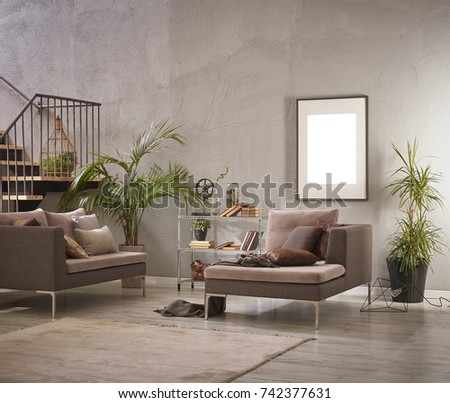 grey stone wall luxury living room and interior design #742377631