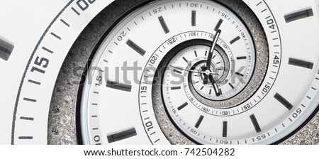 Modern diamond white clock watch clock hands twisted to surreal spiral. Abstract spiral fractal. Watch clock abstract texture pattern background Stylish abstract fractal spiral clock dial time spiral #742504282
