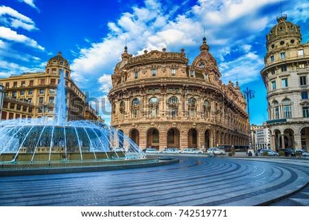 Piazza De Ferrari main square in Genoa Italy Royalty-Free Stock Photo #742519771