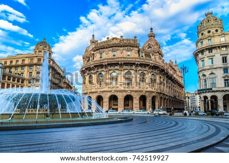 Piazza De Ferrari main square in Genoa Italy Royalty-Free Stock Photo #742519927