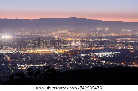 Silicon Valley Lights. San Jose and Santa Cruz Mountains via Mt Hamilton.