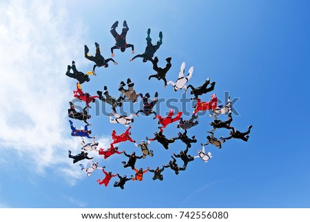 Skydiving team work low angle view #742556080